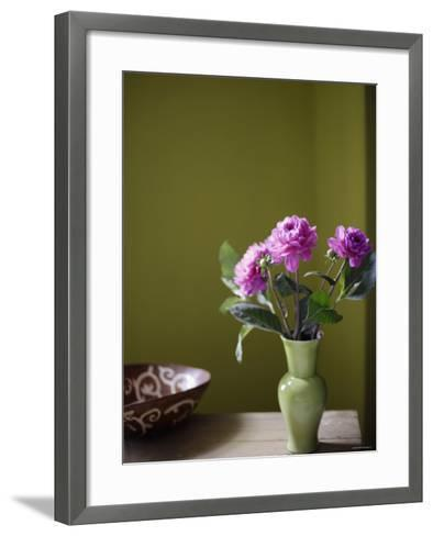 Olive Ambiance, Plum Dahlias--Framed Art Print