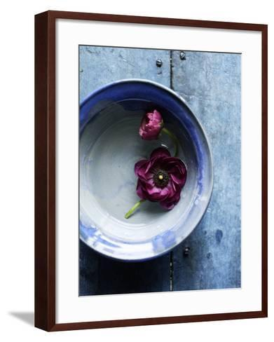 Small Blue Bowl, Two Flowers--Framed Art Print