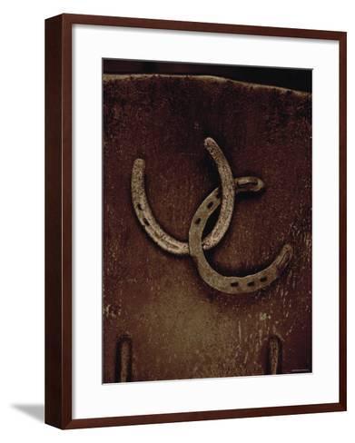 Lucky Horse Shoes on Rust Metallic--Framed Art Print