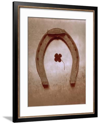 Lucky Horse Shoe on Dusty Rose Metallic I--Framed Art Print