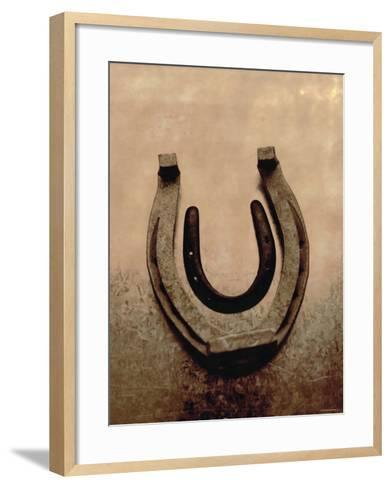 Lucky Horse Shoe on Dusty Rose Metallic II--Framed Art Print
