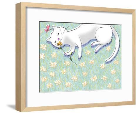 Miss Kitty Enjoys Summertime--Framed Art Print