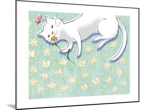 Miss Kitty Enjoys Summertime--Mounted Photo