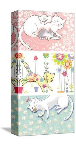 Mommy Cat and Kittens--Stretched Canvas Print