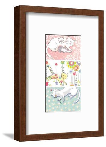 Mommy Cat and Kittens--Framed Art Print