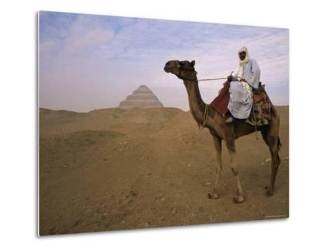 Bedouin Camel Rider in Front of Pyramid of Djoser, Egypt, North Africa-Staffan Widstrand-Metal Print