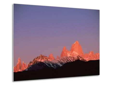 Fitzroy Massif Peak at Sunset, Andes, Patagonia, Argentina, South America-Pete Oxford-Metal Print