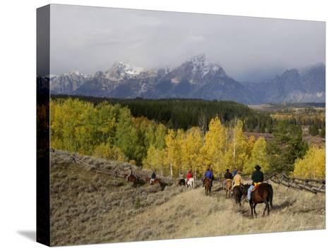 Tourists Enjoying Horseback Riding, Grand Teton National Park, Wyoming, USA-Rolf Nussbaumer-Stretched Canvas Print