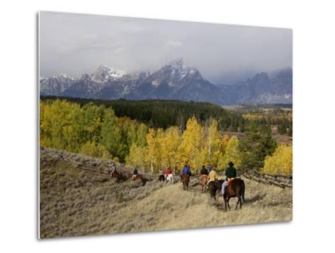Tourists Enjoying Horseback Riding, Grand Teton National Park, Wyoming, USA-Rolf Nussbaumer-Metal Print
