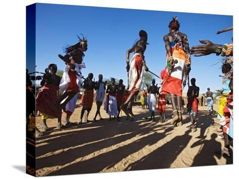 Samburu People Dancing, Laikipia, Kenya-Tony Heald-Stretched Canvas Print