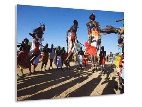 Samburu People Dancing, Laikipia, Kenya-Tony Heald-Metal Print