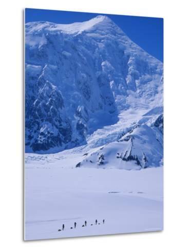Climbing Expedition Passes Below Mount Forraker in the Alaska Range-Bill Hatcher-Metal Print