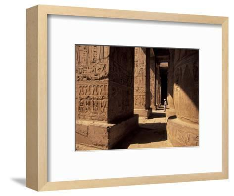 Columns with Reliefs at Karnak Temple in Luxor, Egypt-Richard Nowitz-Framed Art Print