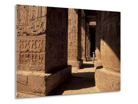 Columns with Reliefs at Karnak Temple in Luxor, Egypt-Richard Nowitz-Metal Print