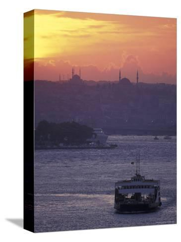 Bosporus at Sunset Facing the Golden Horn from Uskadar Ferry Port, Istanbul, Turkey-Richard Nowitz-Stretched Canvas Print