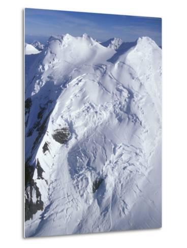 Aerial of Snow Covered Peaks and Glaciers near Mount Mckinley, Alaska-Rich Reid-Metal Print