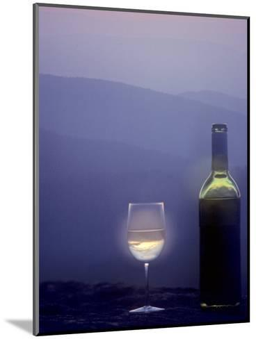Bottle of Wine and Glass against a Scenic Background, Blue Ridge Mountains, Virginia-Kenneth Garrett-Mounted Photographic Print