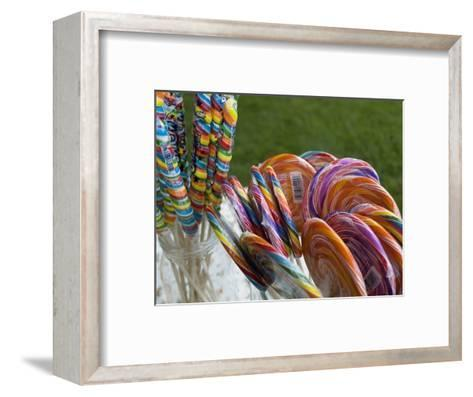 Colorful Lollypops for Sale at a Fair, Mystic, Connecticut-Todd Gipstein-Framed Art Print