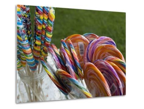 Colorful Lollypops for Sale at a Fair, Mystic, Connecticut-Todd Gipstein-Metal Print