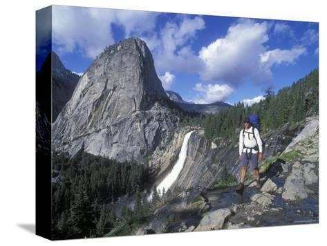 Backpacking on the John Muir Trail Past Nevada Falls and Liberty Cap-Rich Reid-Stretched Canvas Print