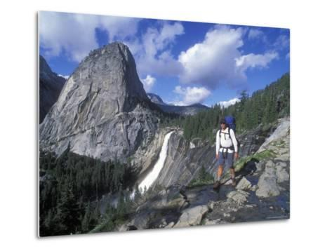 Backpacking on the John Muir Trail Past Nevada Falls and Liberty Cap-Rich Reid-Metal Print