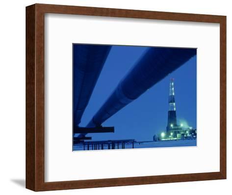 Alaska Oil Pipeline and Oil Rig at Night-Kenneth Garrett-Framed Art Print
