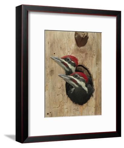 Baby Pileated Woodpeckers Peer from the Tree Hole Nest-George Grall-Framed Art Print