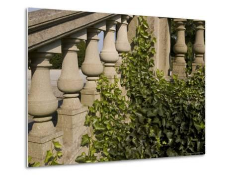 Close View of the Ivy Covered Balustrade of a Staircase-Todd Gipstein-Metal Print