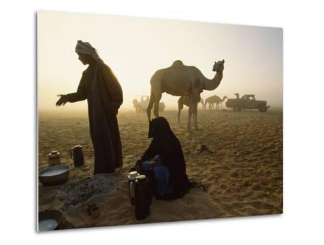 Bedouins Cooking on the Sand at their Camp at Sahamah, Oman-James L^ Stanfield-Metal Print