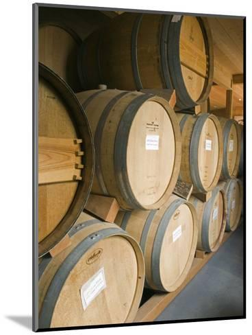 French Oak Barrels of Wine at Midnight Cellars Winery in Paso Robles, California-Rich Reid-Mounted Photographic Print