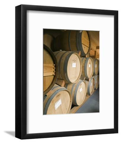 French Oak Barrels of Wine at Midnight Cellars Winery in Paso Robles, California-Rich Reid-Framed Art Print