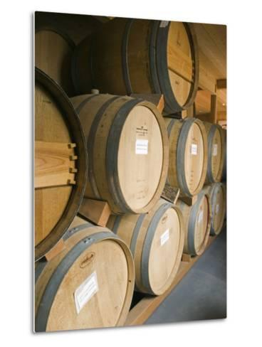 French Oak Barrels of Wine at Midnight Cellars Winery in Paso Robles, California-Rich Reid-Metal Print