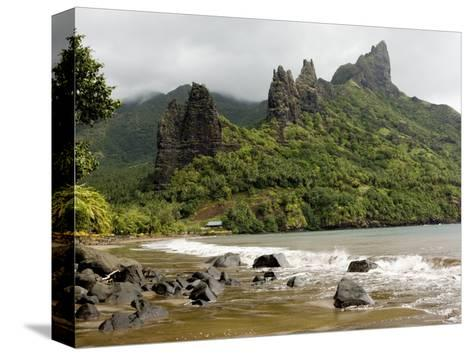 Hatiheu Bay and Surrounding Peaks, Nuku Hiva, French Polynesia-Tim Laman-Stretched Canvas Print