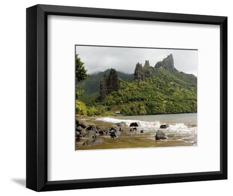 Hatiheu Bay and Surrounding Peaks, Nuku Hiva, French Polynesia-Tim Laman-Framed Art Print
