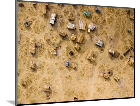 Fishing and Cattle Camp on the Dry Bed of Lake Mtera, Tanzania-Michael Fay-Mounted Photographic Print