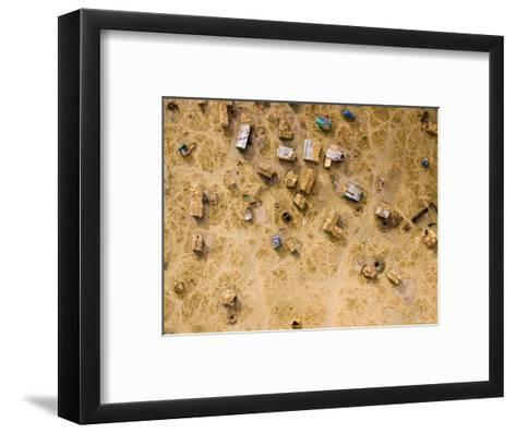 Fishing and Cattle Camp on the Dry Bed of Lake Mtera, Tanzania-Michael Fay-Framed Art Print