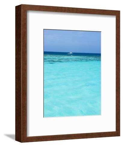 Dive Boat Outside Coral Reef Anchored with Diveres in the Water, Ambergris Caye, Belize-James Forte-Framed Art Print