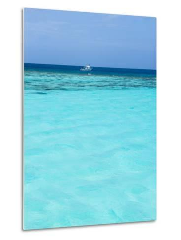 Dive Boat Outside Coral Reef Anchored with Diveres in the Water, Ambergris Caye, Belize-James Forte-Metal Print