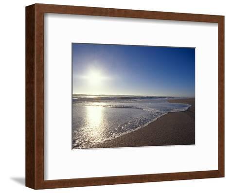 Gentle Waves Lap Onto a Pristine Sandy Beach with the Sun Reflecting, Australia-Jason Edwards-Framed Art Print