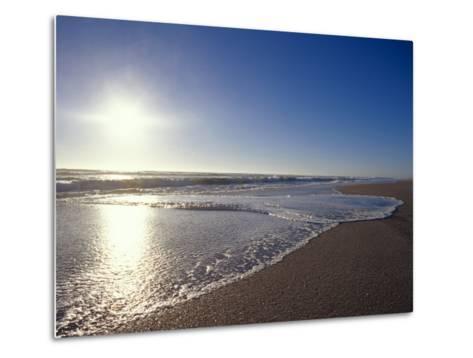 Gentle Waves Lap Onto a Pristine Sandy Beach with the Sun Reflecting, Australia-Jason Edwards-Metal Print