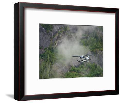 Float Plane against Granite Cliff, Alaska-Ralph Lee Hopkins-Framed Art Print