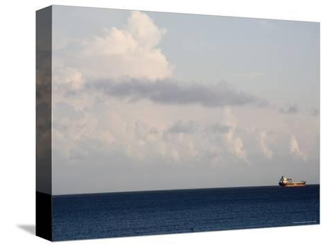 Container Ship Leaves Cape Fear River Mouth for Open Atlantic-David Evans-Stretched Canvas Print