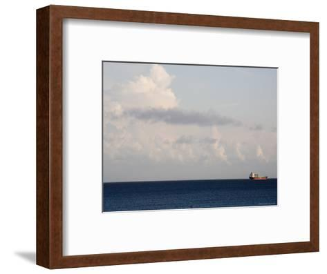 Container Ship Leaves Cape Fear River Mouth for Open Atlantic-David Evans-Framed Art Print