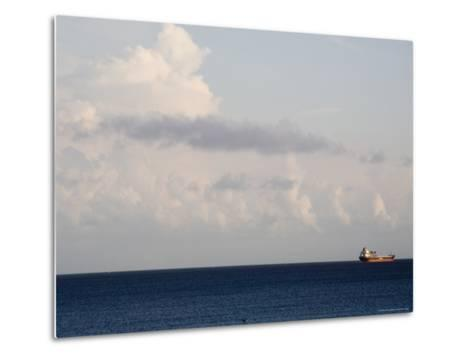 Container Ship Leaves Cape Fear River Mouth for Open Atlantic-David Evans-Metal Print