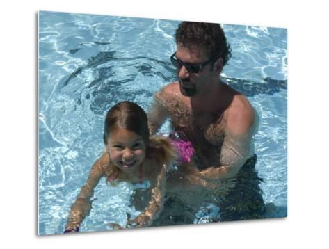 Father Teaches his Child How to Swim, Chevy Chase, Maryland-Stacy Gold-Metal Print