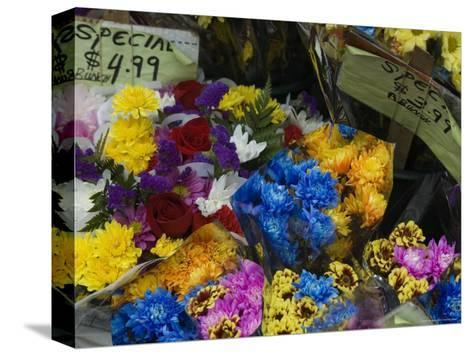 Flowers for Sale at an Outdoor Market Stand, New York-Todd Gipstein-Stretched Canvas Print