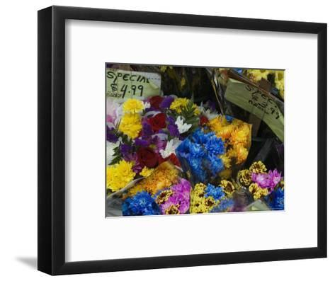 Flowers for Sale at an Outdoor Market Stand, New York-Todd Gipstein-Framed Art Print
