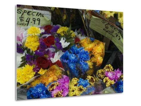 Flowers for Sale at an Outdoor Market Stand, New York-Todd Gipstein-Metal Print