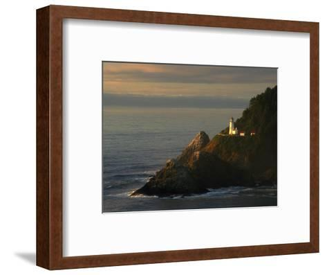 Distant View of the Heceta Head Lighthouse on the Oregon Coast-Phil Schermeister-Framed Art Print