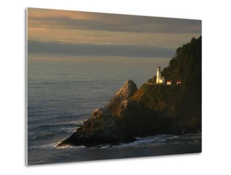 Distant View of the Heceta Head Lighthouse on the Oregon Coast-Phil Schermeister-Metal Print